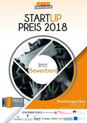 Offizieller Bewerbungsflyer für den Würzburger Startup-Preis 2018